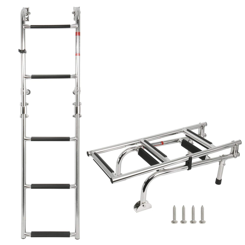 Amarine Made Marine Boat Foldable Stainless Steel 5 Steps Ladders Stern Mount W Rubber Grips,2+3 Step Ladder(Mounting Screws are Included)