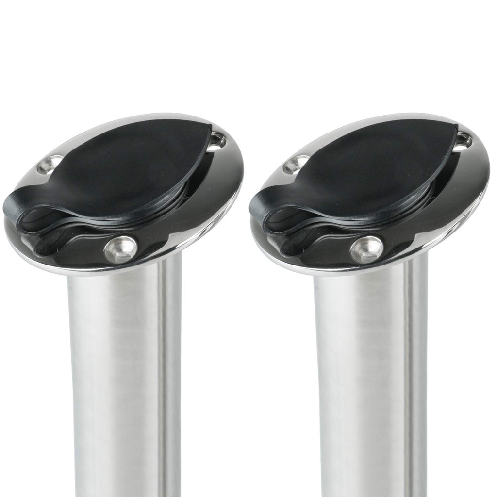 Amarine Made 15 Degree Stainless Heavy Duty Flush Mount UV Resistant Rod Holder with Black PVC Cap and Liner 2Pack