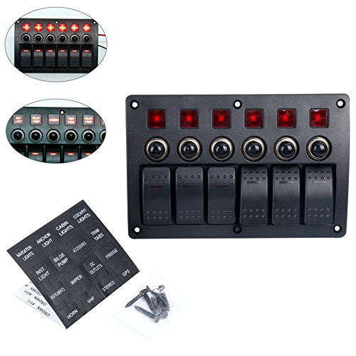 Amarine Made 6 Gang Red LED Indicators Rocker & Circuit Breaker Waterproof Marine Boat Rv Switch Panel