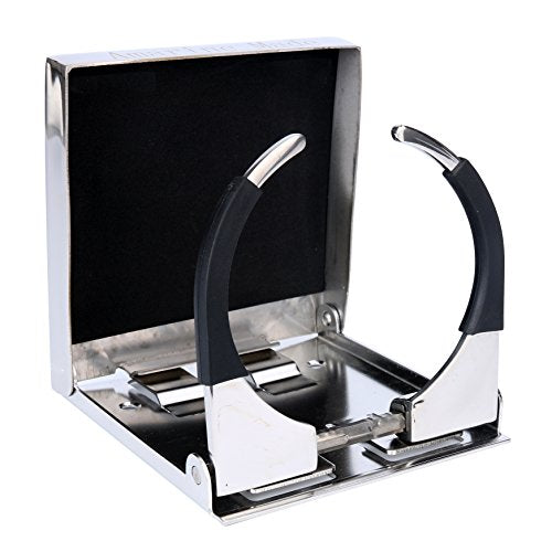 Amarine Made Bigger Stainless Steel Adjustable Folding Drink Holders Marine Boat Caravan car for Mug Cup up to Dia 3-3/8""