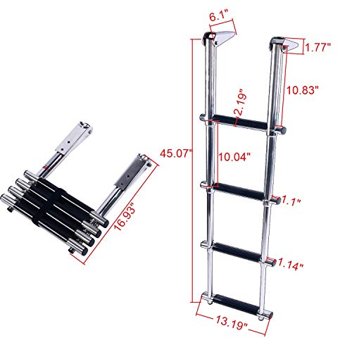 Amarine Made 4 Step Wide Steps Stainless Steel Telescoping Boat Ladder Swim Step