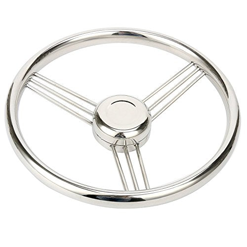 Amarine Made 13.5 Inch 9 Spoke Stainless Boat Steering Wheel - 10 Degree - 9500S380