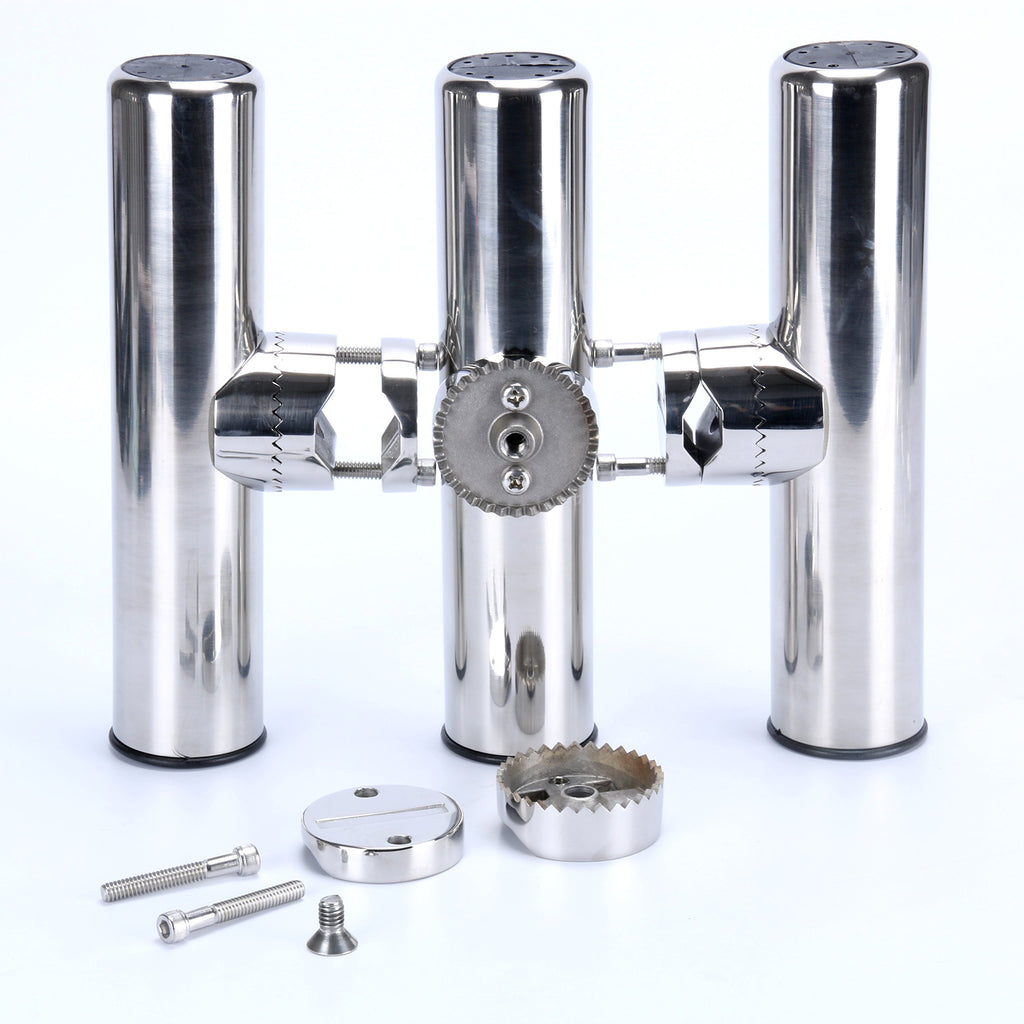 "Amarine Made 4Pcs Stainless Rail Mount Clamp on Fishing Rod Holder for Rails 1"" to 1-1/4"""