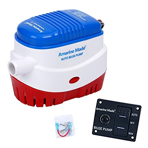 Amarine Made Automatic Submersible Boat Bilge Water Pump 12v 750gph Auto and Auto/Off/Man LED Rocker Bilge Pump Switch Panel