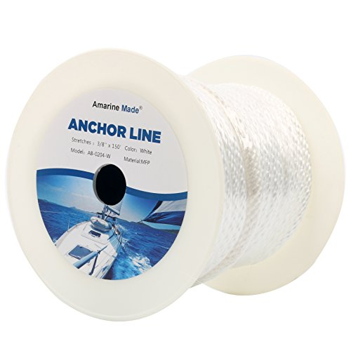 Amarine Made 3/8 Inch 150FT Premium Solid Braid MFP Anchor Line with Thimble