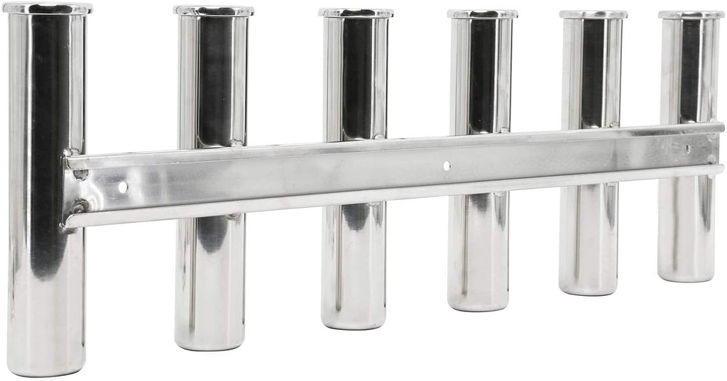 Amarine Made 6 Tube Fishing Rod Rack, 316 Stainless Steel Wall Mounted Side Rod Holder Fishing