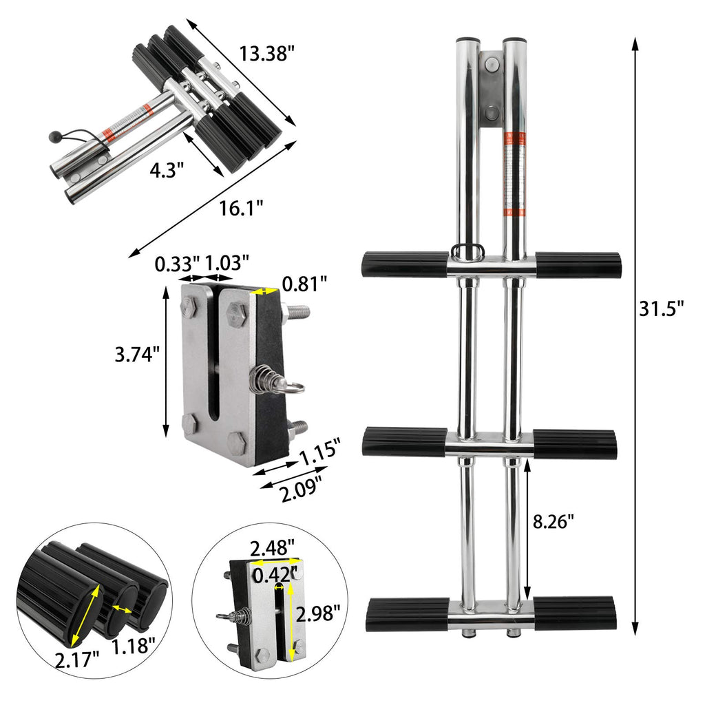 Amarine Made 3 Steps Boat Marine Dual Vertical Telescoping Tube Sport Diver Ladder with Mount