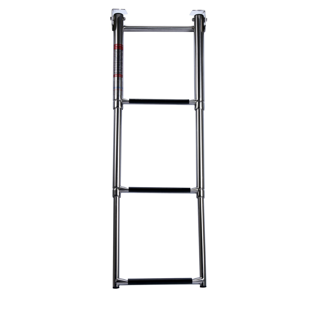 Amarine Made 3-Step Under Platform Slide Mount Boat Boarding Ladder, Telescoping, Stainless Steel