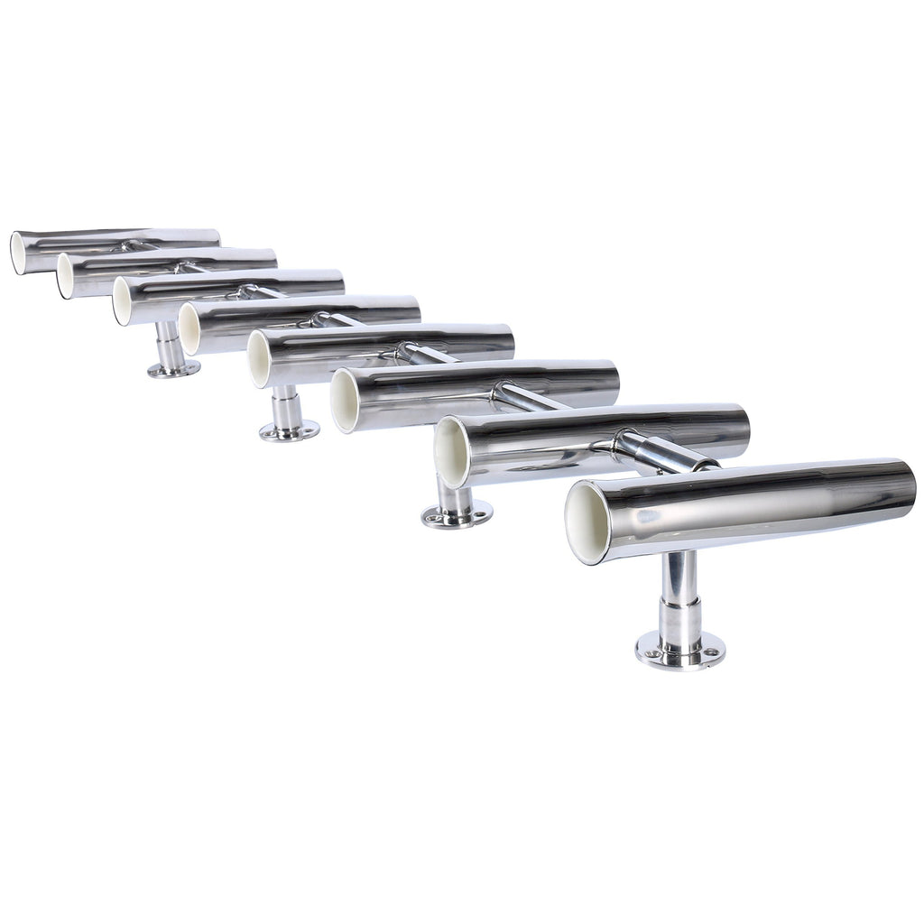 Amarine Made 8 Tube Adjustable Stainless Rocket Launcher Rod Holders, Can Be Rotated 360 Deg