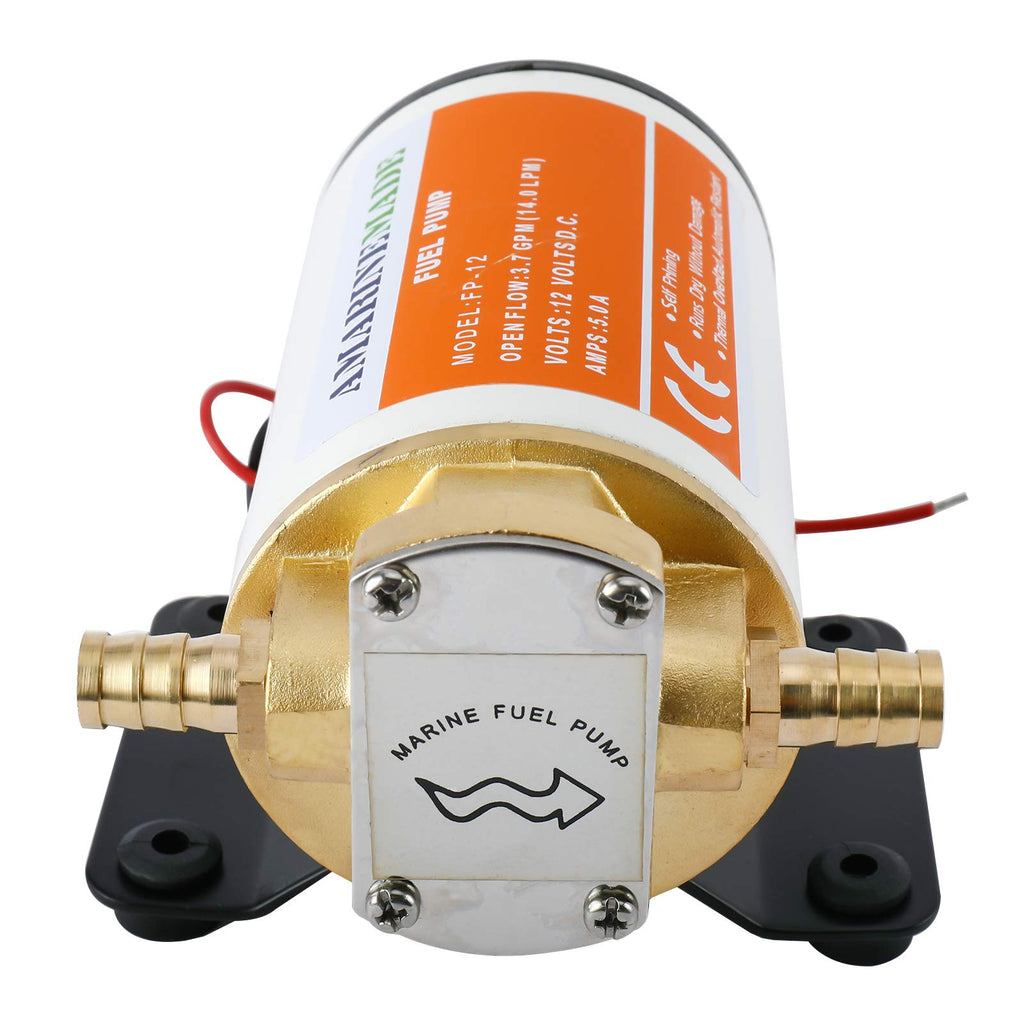 Amarine Made 12v Scavenge Impellor Pump- for Diesel Fuel Scavenge Oil Transfer - White Shell