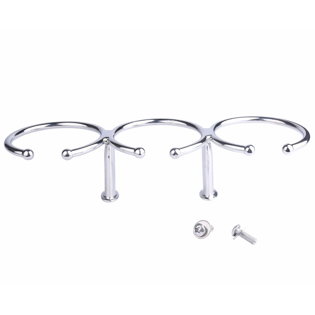 Amarine Made 316 Stainless Steel Triple Ring Cup Drink Holder - Open Design