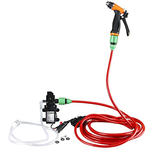 "Amarine Made Electric Washer Pump Kit,12V Portable High Pressure Water Pump with 23.6"" PVC Pressure Hose and Independent Power Switch,Wash Device for Auto RV Marine,Home,Garden,Vehicles"