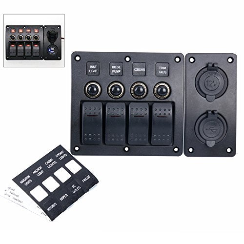 Amarine Made 4 Gang Red LED Indicators Rocker & Circuit Breaker Waterproof Marine Boat Rv Switch Panel Combined