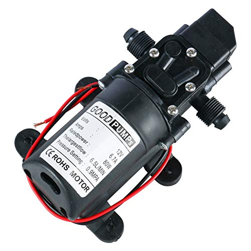 Home Vehicles Caravan Amarine Made Electric Washer Pump Portable 12V High Pressure Water Pump with 23.6 PVC Pressure Hose and Independent Power Switch Garden 80W, 130PSI