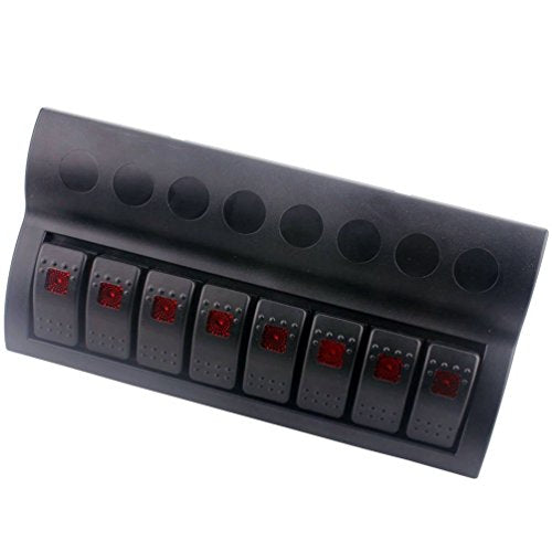 Amarine Made 8 Gang Splashproof Waterproof Rocker Switch Panel Black with Red LED Indicators