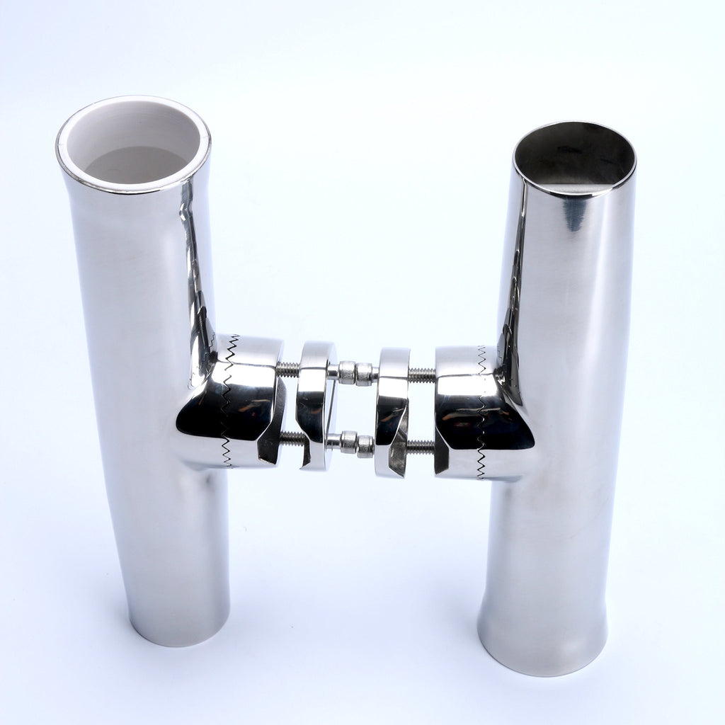 "Amarine Made Stainless Tournament Style Clamp on Fishing Rod Holder for Rails 1"" to 1-1/4"" Rail Mount Rod Holder (4x)"