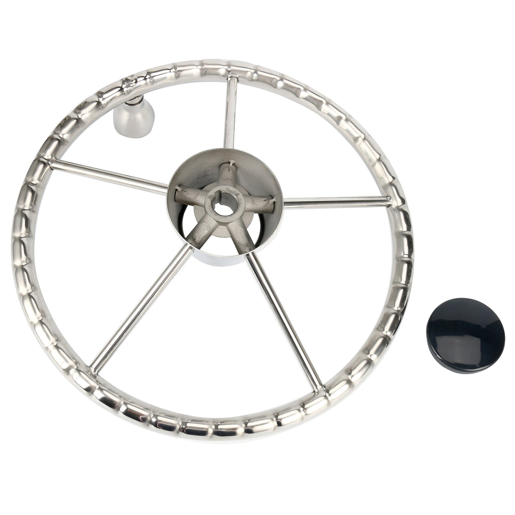 Amarine Made 5-Spoke 13-1/2 Inch Destroyer Style Stainless Boat Steering Wheel with M Size Knob
