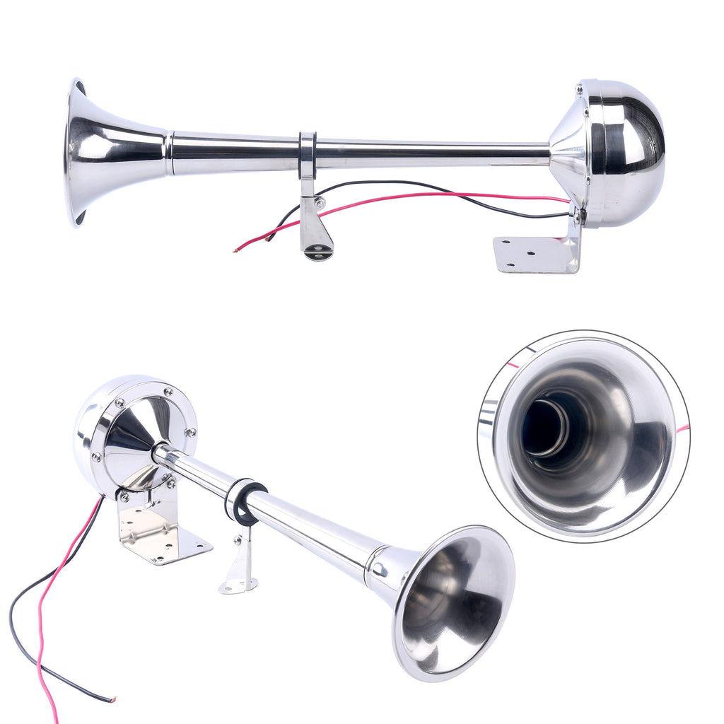 Amarine Made 12v Marine Boat Stainless Steel Single Trumpet Horn, Low Tone, 16-1/8""