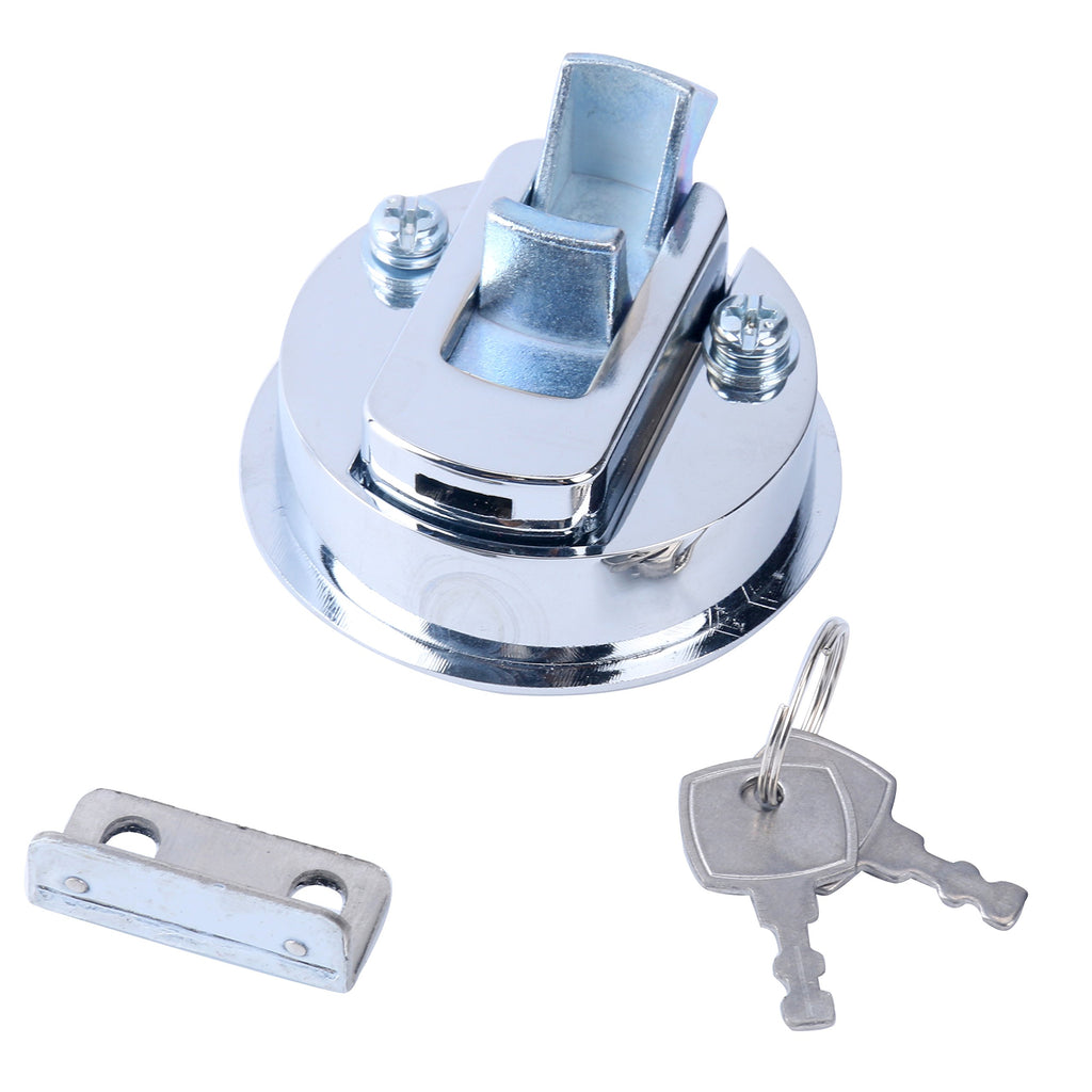 "Amarine Made Chrome 2"" Flush Pull Slam Latch for Boat Deck Hatch 1/4"" Door - Locking Style"