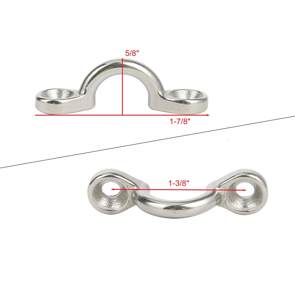 Amarine Made Pack of 6 Casted Stainless Steel Bimini Boat Top PAD Eye for Kayak Canoe Rigging