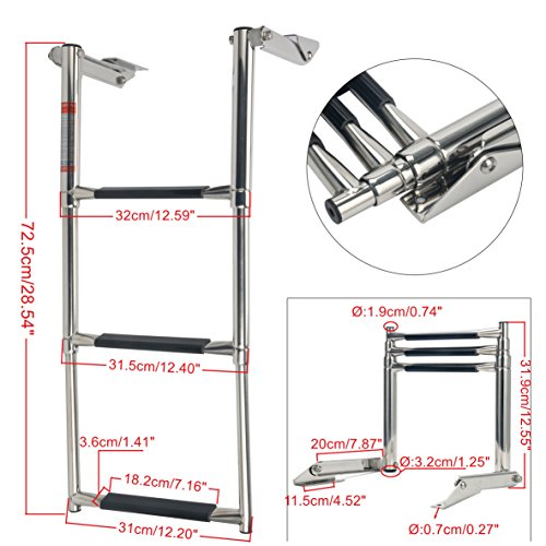 Amarine-made 3 Step Stainless Steel Telescoping Boat Ladder Swim Step 8331BBD