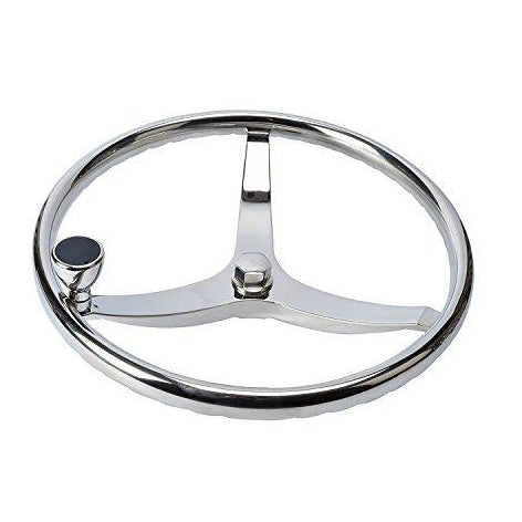 "Amarine Made Stainless Steel Boat Steering Wheel 3 Spoke 13-1/2"" Dia for Teleflex Cable Helm"