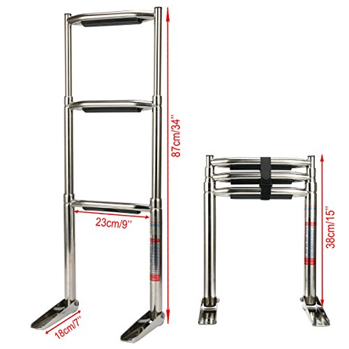 Amarine Made 3 Step Wide Steps Stainless Steel Telescoping Boat Ladder Swim Step