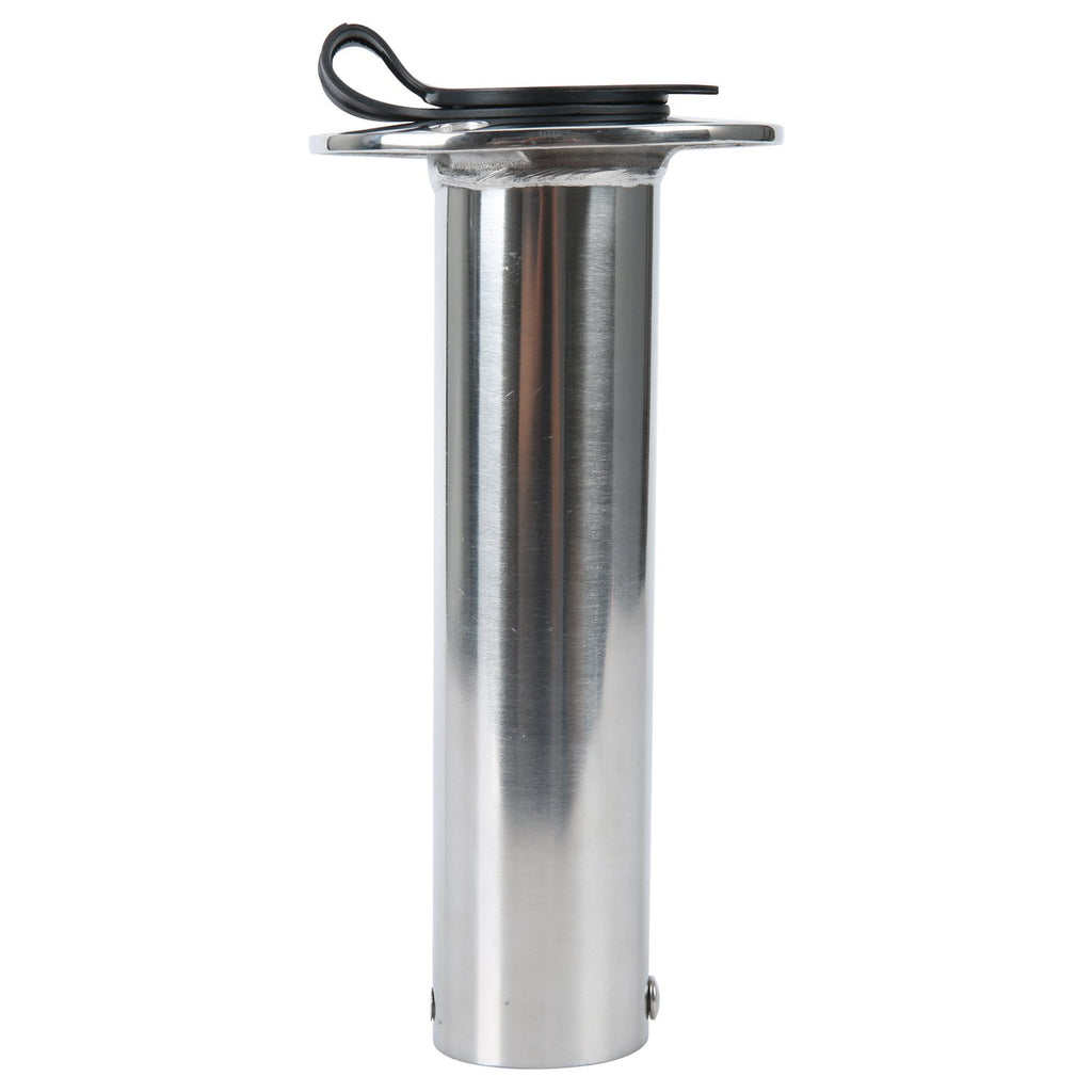 Amarine Made 90 Degree Stainless Heavy Duty Flush Mount UV Resistant Rod Holder with Black PVC Cap and Liner- 7745-90