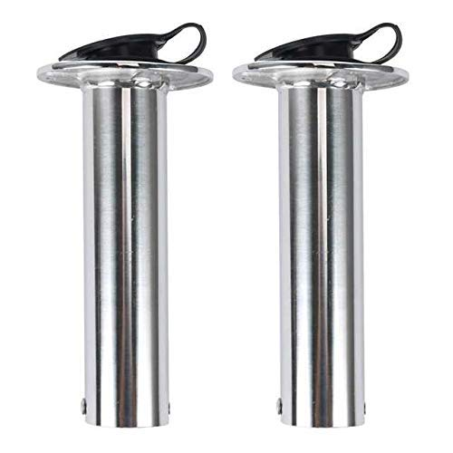 Amarine Made 2PCS 90 Degree Stainless Heavy Duty Flush Mount UV Resistant Rod Holder with Black PVC Cap and Liner-7745S90