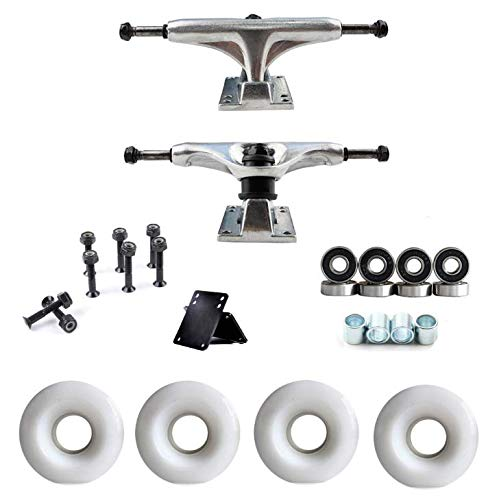 Amarine Made Polished 5.0 Skateboard Trucks with 52mm Wheels ABEC Bearings Combo Set, Skateboard Wheels, Skateboard Bearings, Skateboard Pads Hardware