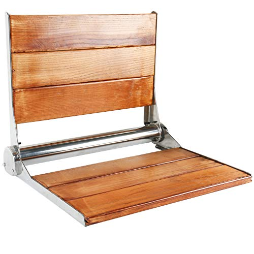 "Amarine-made Solid Wood Wall Mounted Folding Shower Seat or Bench - 4018S (19"" x 15"",Solid Wood with Stainless Steel Frame)"