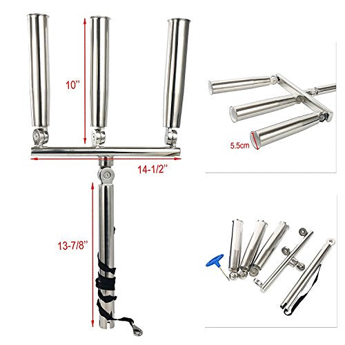 Amarine Made 3 Tube Silver Highly Polished Stainless Steel Trident Outrigger Stylish Rod Holder