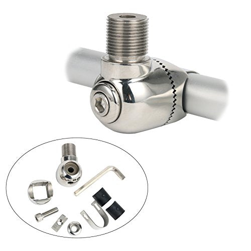 Amarine Made Marine Antenna Adjustable Base Mount for Boats -Deluxe Stainless Steel Rail Mount
