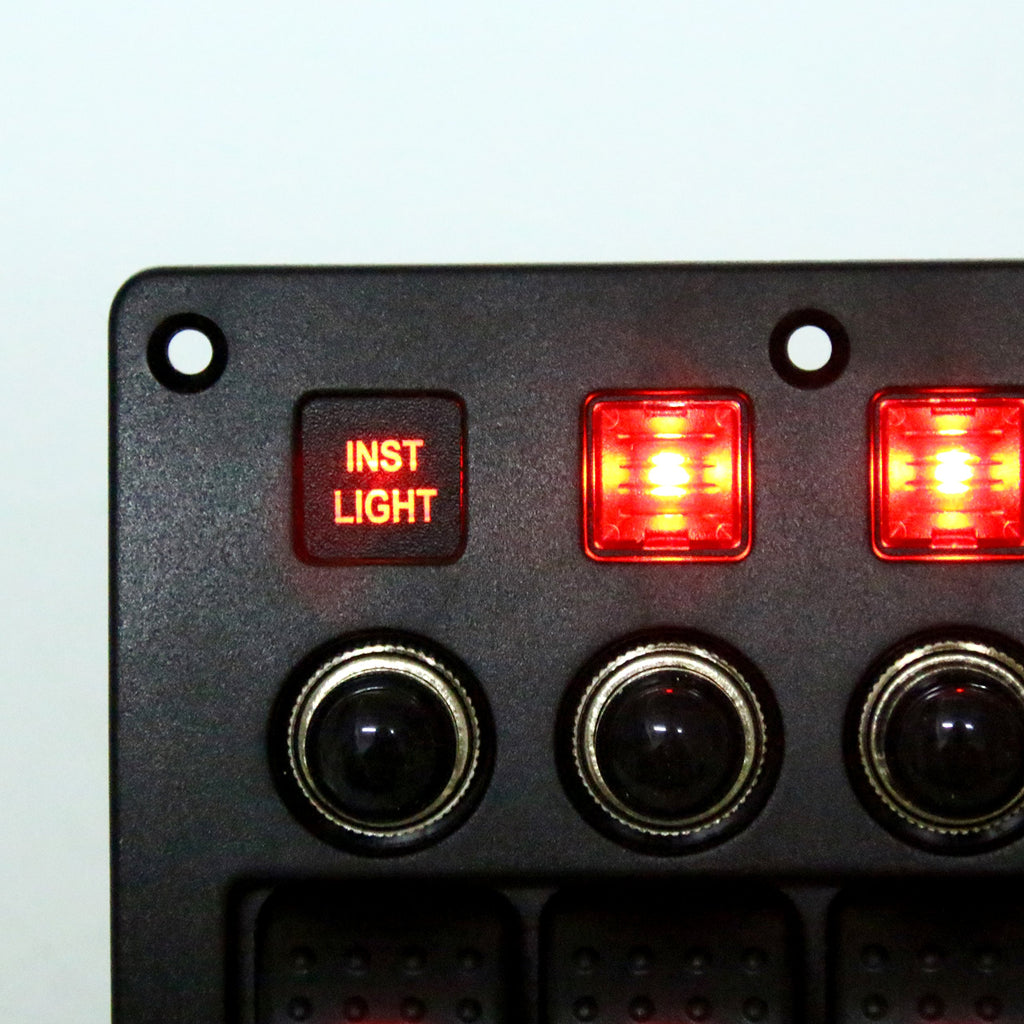 Amarine Made 4 Gang Red LED Indicators Rocker & Circuit Breaker Waterproof Marine Boat Rv Switch Panel