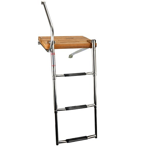 Amarine Made Boat Out-Board Swim Teak Platform with 3-Steps Stainless Ladder