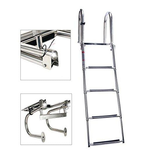 4 Step Premium Stainless Folding Rear Entry Pontoon Boat Ladder w/Extra Wide Step with led Light