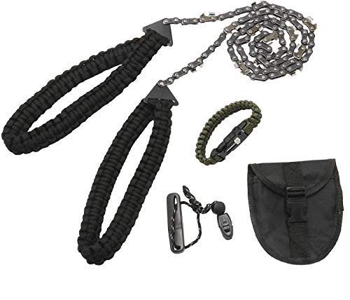 Amarine Made Survival Pocket Chainsaw 16 Serrated 36 inch Folding Hand Saw Chain for Tree Cutting Hiking Camping Survival Gear with Paracord Bracelet