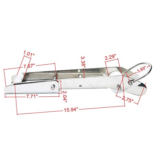 "Amarine Made 21"" Polished Stainless Anchor Roller Self Launching Pivoting Delta Fluke Danforth - 5569s"