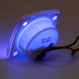Amarine-made Boat Marine RV Auto 12 Volt LED Square Courtesy Floor Light -Bezel Color: White