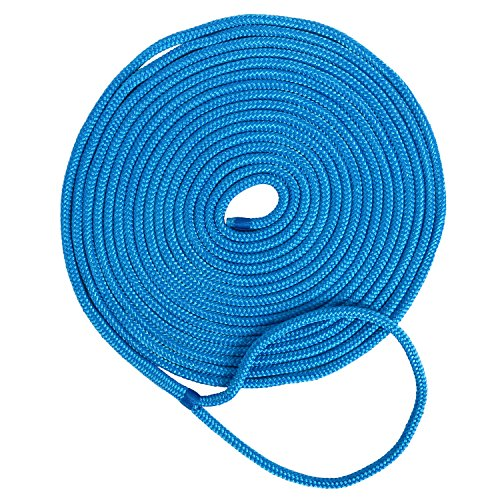 Amarine Made 3/8 Inch 35 FT Double Braid Nylon Dockline Dock Line Mooring Rope Color: Black, White, Blue, Red, White/Gold, Cadet Blue