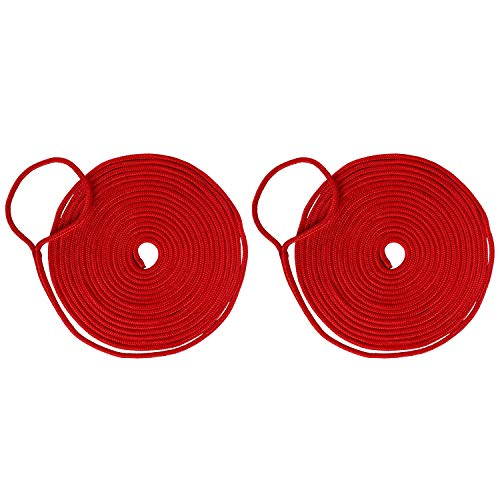 Amarine Made 2 Pack of 3/4 Inch 25 FT Double Braid Nylon Dockline Mooring Rope
