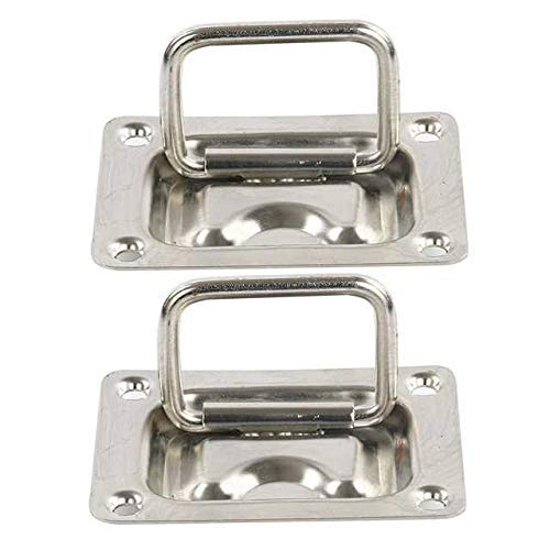 "Amarine Made Rectangular Recessed Hatch 2-3/16"" x 3"" (57 x 76 mm) Loaded Lifting Ring for Boat Hatch (Pack of 2"
