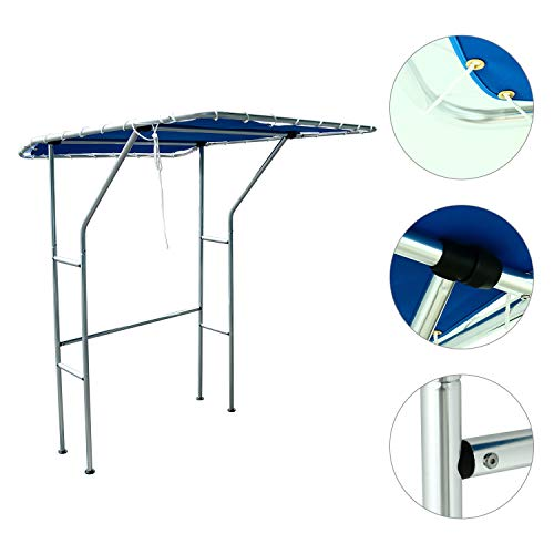 "Amarine Made Boat T-Top an Ideal Canopy for Centre Console Boat,Aluminium Tube T Top - Blue Canvas (66.9""x55.2""x80.7"")"
