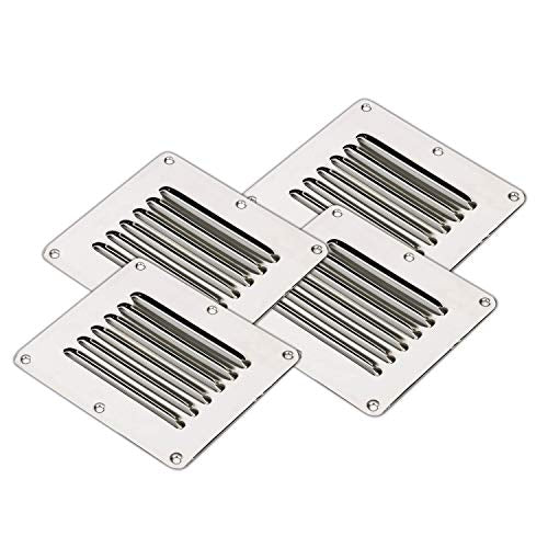 "Amarine Made Stainless Steel Stamped Louvered Vent - Rectangular - 07722S - 4-1/2"" X 5"""
