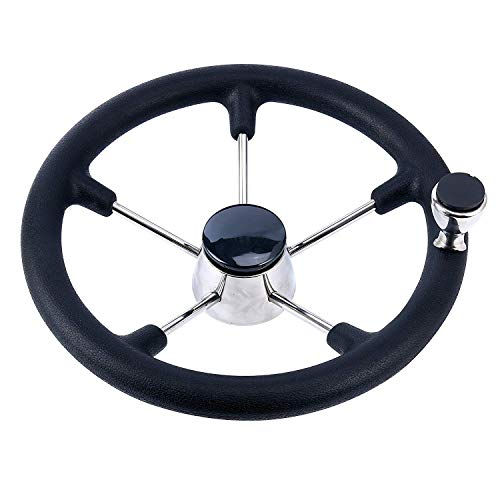 "Amarine Made Boat Marine 5 Spoke Destroyer Steering Wheel with Black Foam Grip and Knob, 11"", 13-1/2"", 15"""