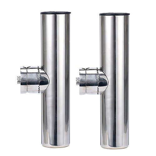 "Amarine Made (2X) Stainless Clamp on Fishing Rod Holder for Rails 1"" to 1-1/4"""