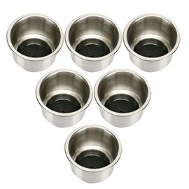 Amarine Made Stainless Steel Cup Drink Holder with Drain Marine Boat Rv Camper (6-Pack)