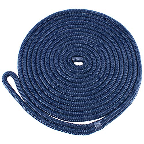 Amarine Made 1/2 Inch 35 FT Double Braid Nylon Dockline Dock Line Mooring Rope Double Braided Dock Line, Color: Black, White, Blue, Red, Cadet Blue, White/Gold