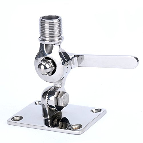 Amarine Made Marine VHF Antenna Adjustable Base Mount for Boats -Stainless Steel