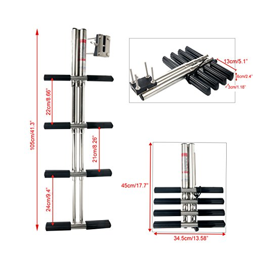 Amarine Made Heavy Duty 4 Steps Boat Marine Dual Vertical Telescoping Tube Stainless Steel Sport Diver Ladder with Mount- 4 Steps - M1085S4